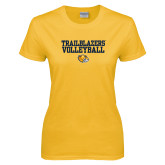 Ladies Gold T Shirt-Volleyball Workmark