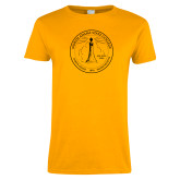 Ladies Gold T Shirt-North Adams State College Seal