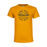 Youth Gold T Shirt-Basketball Ball Design