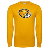 Gold Long Sleeve T Shirt-Mascot Head