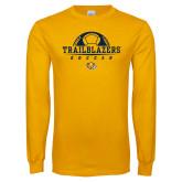 Gold Long Sleeve T Shirt-Soccer Half Ball Design