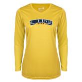 Ladies Syntrel Performance Gold Longsleeve Shirt-Wordmark