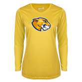 Ladies Syntrel Performance Gold Longsleeve Shirt-Mascot Head
