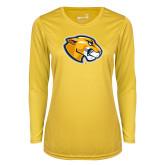 Ladies Syntrel Performance Gold Longsleeve Shirt-Mascot Head