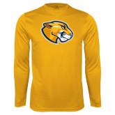 Performance Gold Longsleeve Shirt-Mascot Head