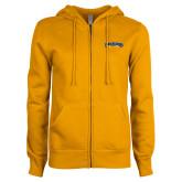 ENZA Ladies Gold Fleece Full Zip Hoodie-Wordmark