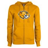 ENZA Ladies Gold Fleece Full Zip Hoodie-Mascot Head