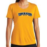 Ladies Syntrel Performance Gold Tee-Wordmark