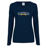 Ladies Navy Long Sleeve V Neck T Shirt-Wordmark