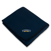 Navy Arctic Fleece Blanket-Wordmark