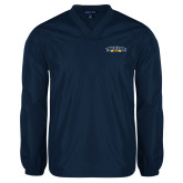 V Neck Navy Raglan Windshirt-Wordmark
