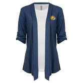 Ladies Navy Drape Front Cardigan-Mascot Head