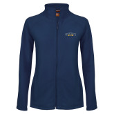 Ladies Fleece Full Zip Navy Jacket-Wordmark
