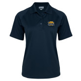 Ladies Navy Textured Saddle Shoulder Polo-Primary Mark