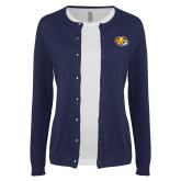 Ladies Navy Cardigan-Mascot Head