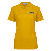 Ladies Easycare Gold Pique Polo-Wordmark