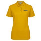 Ladies Easycare Gold Pique Polo-Wordmark