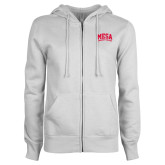 ENZA Ladies White Fleece Full Zip Hoodie-Mesa Community College Thunderbirds