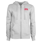 ENZA Ladies White Fleece Full Zip Hoodie-Mesa Community College Arched