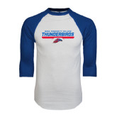 White/Royal Raglan Baseball T Shirt-Mesa Community College Thunderbirds
