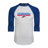 White/Royal Raglan Baseball T Shirt-Mesa Community College Thunderbirds