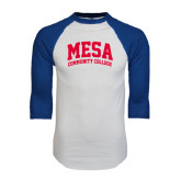 White/Royal Raglan Baseball T Shirt-Mesa Community College Arched