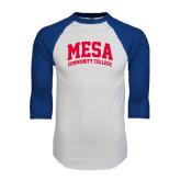 White/Royal Raglan Baseball T Shirt-Mesa Community College Arched