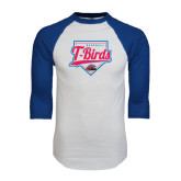 White/Royal Raglan Baseball T Shirt-T-Birds Baseball w/ Plate
