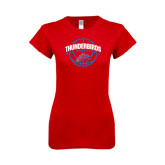 Next Level Ladies SoftStyle Junior Fitted Red Tee-Thunderbirds MCC Basketball w/ Ball