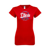 Next Level Ladies SoftStyle Junior Fitted Red Tee-T-Birds Softball w/ Seams