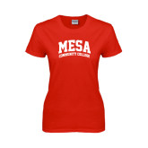 Ladies Red T Shirt-Mesa Community College Arched