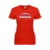 Ladies Red T Shirt-Thunderbirds MCC Football w/ Ball