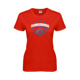 Ladies Red T Shirt-Thunderbirds MCC Basketball w/ Ball