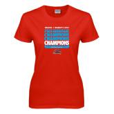Ladies Red T Shirt-Region 1 Tenth Straight Champions - Womens Golf 2016