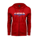 ENZA Ladies Red Fleece Full Zip Hoodie-Mesa Community College Thunderbirds