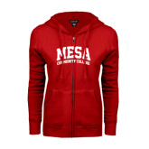 ENZA Ladies Red Fleece Full Zip Hoodie-Mesa Community College Arched