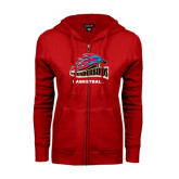 ENZA Ladies Red Fleece Full Zip Hoodie-Basketball