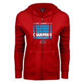 ENZA Ladies Red Fleece Full Zip Hoodie-Region 1 Tenth Straight Champions - Womens Golf 2016