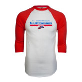 White/Red Raglan Baseball T-Shirt-Mesa Community College Thunderbirds
