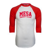 White/Red Raglan Baseball T-Shirt-Mesa Community College Arched