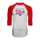White/Red Raglan Baseball T-Shirt-T-Birds Baseball w/ Plate