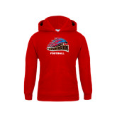 Youth Red Fleece Hoodie-Football