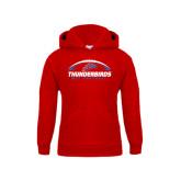 Youth Red Fleece Hoodie-Thunderbirds MCC Football w/ Ball