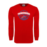 Red Long Sleeve T Shirt-Thunderbirds MCC Basketball w/ Ball