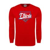 Red Long Sleeve T Shirt-T-Birds Baseball w/ Plate