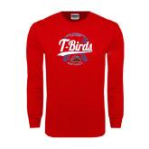 Red Long Sleeve T Shirt-T-Birds Softball w/ Seams