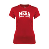 Ladies Syntrel Performance Red Tee-Mesa Community College Arched