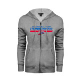 ENZA Ladies Grey Fleece Full Zip Hoodie-Mesa Community College Thunderbirds
