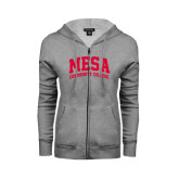 ENZA Ladies Grey Fleece Full Zip Hoodie-Mesa Community College Arched