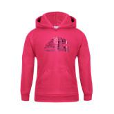 Youth Raspberry Fleece Hood-Official Logo Foil